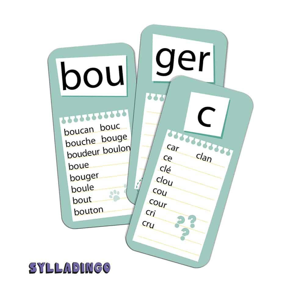 Les cartes du jeu SyllaDingo