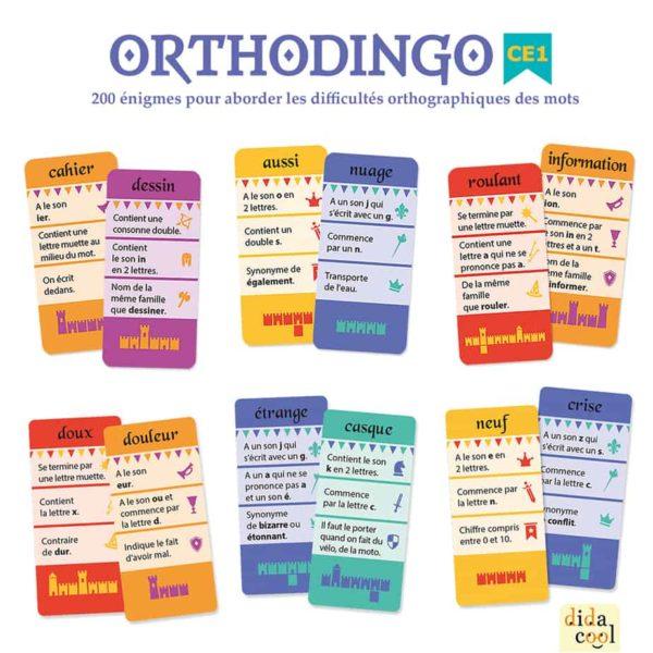 Les cartes du jeu Orthodingo CE1