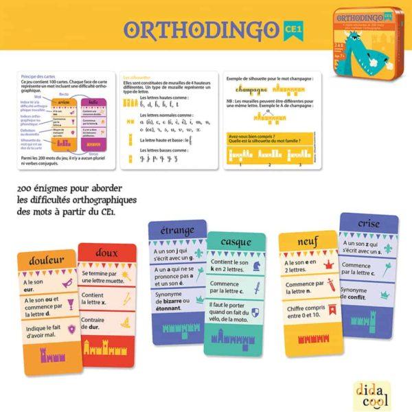 Contenu du jeu de cartes Orthodingo CE1