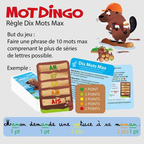 """Explication de la règle """"Dix Mots Max"""" du jeu de cartes Motdingo"""