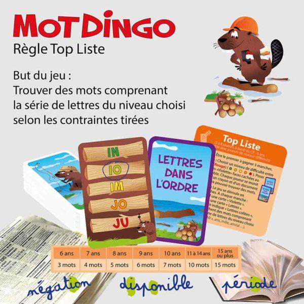 "Explication de la règle ""Top Liste"" du jeu de cartes Motdingo"