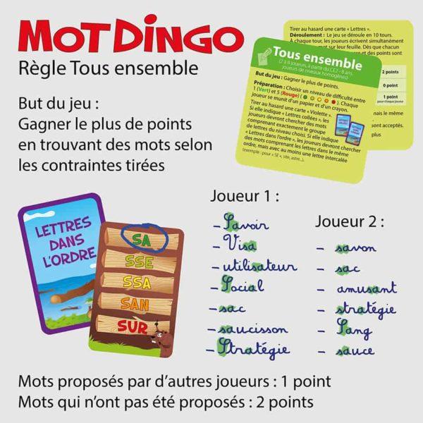 """Explication de la règle """"Tous ensemble"""" du jeu de cartes Motdingo"""