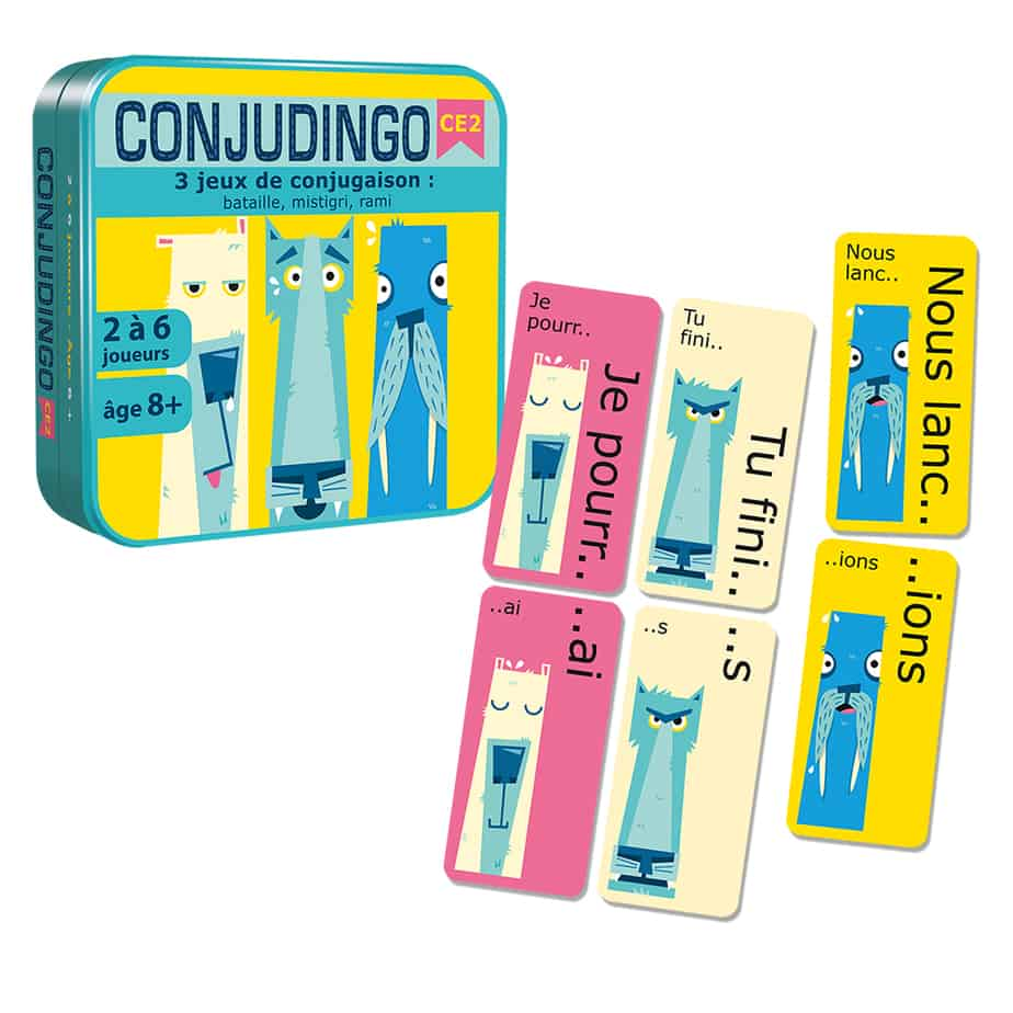 Boite de Conjudingo CE2 avec des exemples de cartes