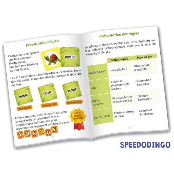 Livret de règles du jeu SpeedoDingo