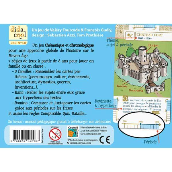 Dos de la boite du jeu de cartes HistoDingo Moyen Age
