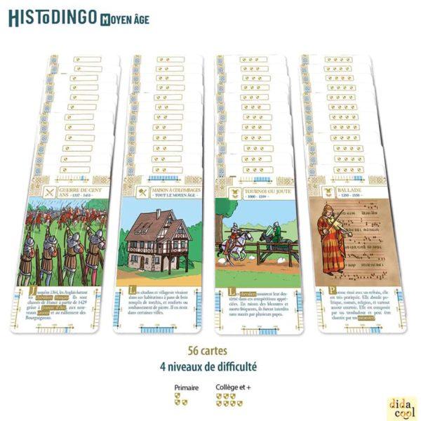 Les cartes du jeu HistoDingo Moyen Age