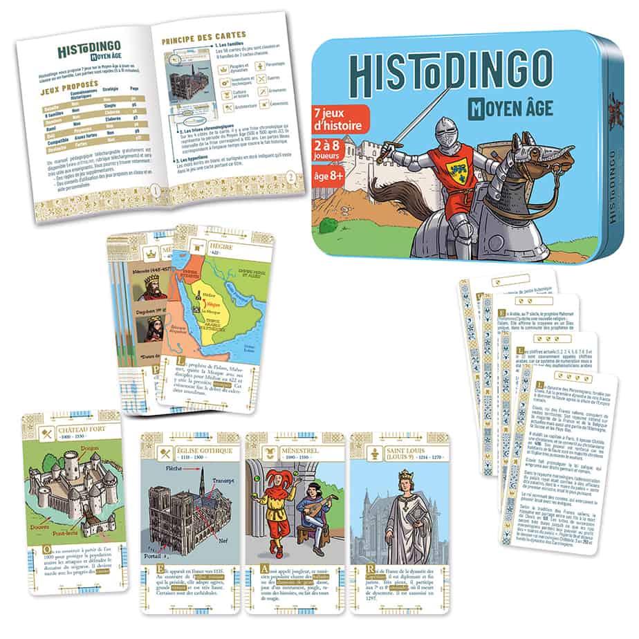 Boite du jeu HistoDingo MA avec les cartes et le livret de règles