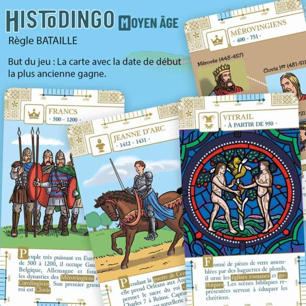 Explication de la règle Bataille du jeu HistoDingo Moyen Age