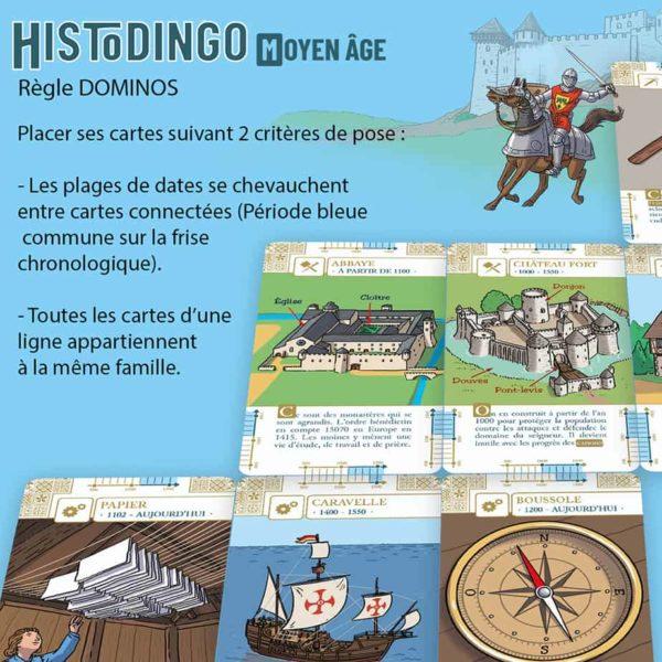 Explication de la règle Dominos du jeu HistoDingo Moyen Age