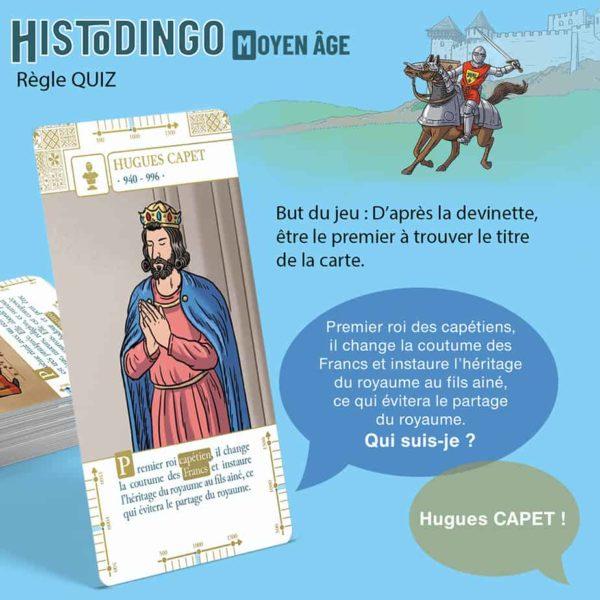 Explication de la règle Quiz du jeu HistoDingo Moyen Age