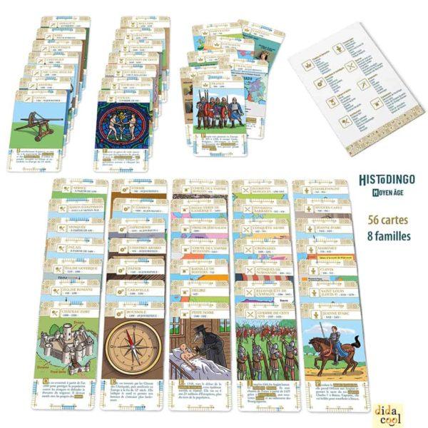 Les cartes du jeu HistoDingo Moyen Age (8 familles)