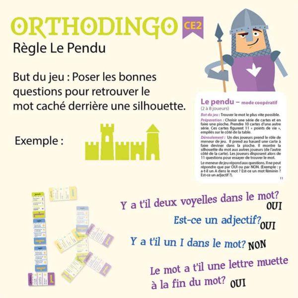 Explication de la règle le Pendu du jeu Orthodingo CE2