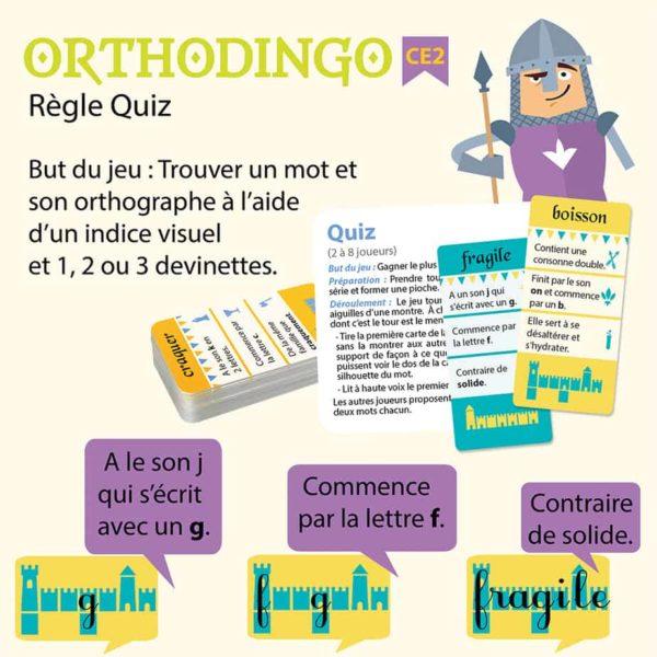 Explication de la règle quiz du jeu Orthodingo CE2